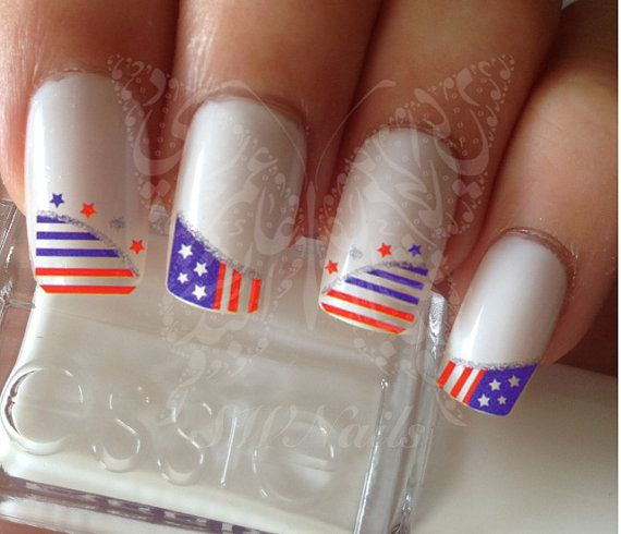 Nail Art USA Heart  4th of July Nail French Tips Water by SWNails