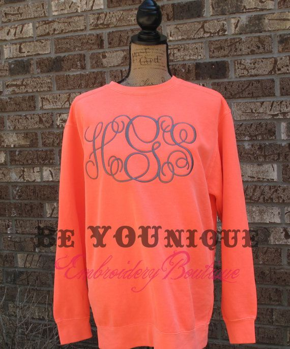 monogrammed comfort colors sweatshirt by beyouniqueembroidery   55 00