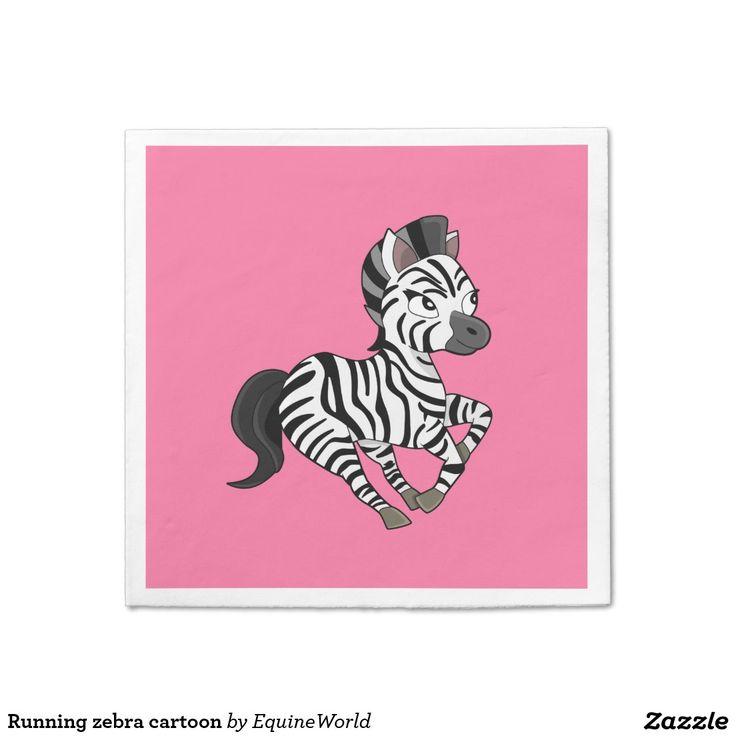 Running zebra cartoon standard cocktail napkin