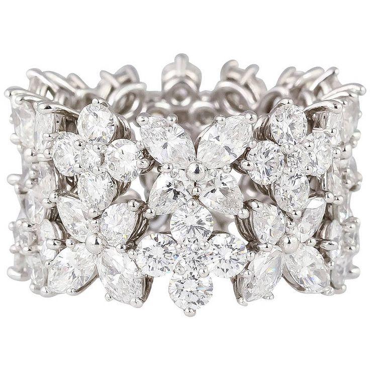 Harry Winston Diamond Platinum Wide Band Jewelry To