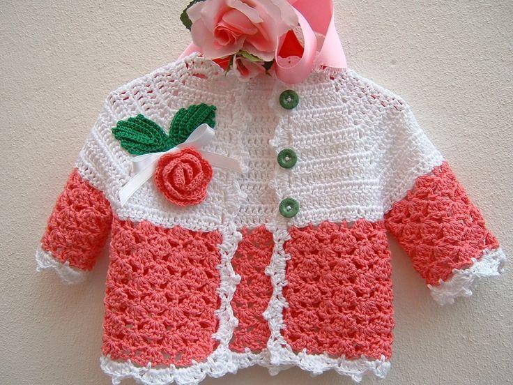 Golfino per bebè eseguito a mano all'uncinetto in cotone rosa e bianco. Crochet moda neonata : Moda bebè di i-pizzi-di-anto