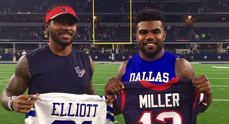 Braxton Miller and Ezekiel Elliotts of #BuckeyeNation swapped jerseys Thursday night in Houston.