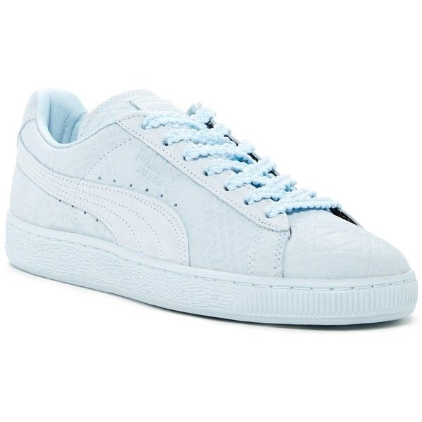 PUMA Suede Classic Triangle Sneaker ($50) ❤ liked on Polyvore featuring shoes, sneakers, blue, lace up sneakers, puma trainers, blue suede shoes, round cap and blue suede sneakers