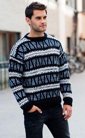Den flotte herresweater med mønsterborter i to bredder vil klæde de fleste. Her ses sweateren med rund halsudskæring, men du får også opskrift til en lige udskæring, som man brugte meget i 60'erne