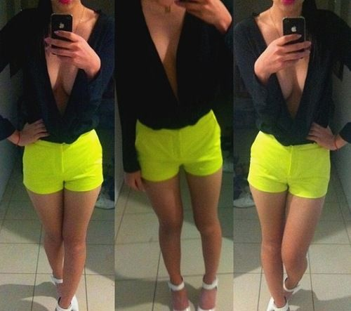 Neon Shorts - idk about the white heels but everything else is cute