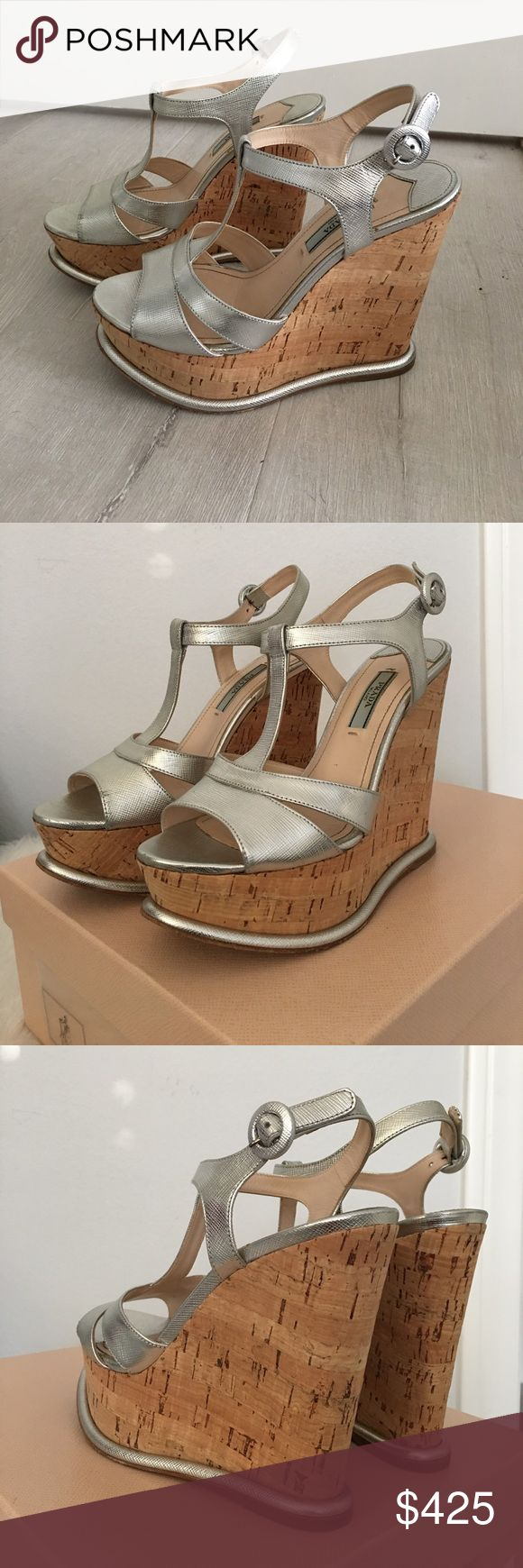 Prada wedge sandals Color is Argento (silver). Wedge is cork. These are super comfortable, just too high for me. 5.25 I'm back with a 1.75 front lift). I purchased at Nieman Marcus $850 comes with box and shoes shoe bag. 36.5 Prada Shoes Wedges