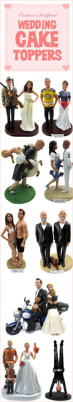 How great are these custom wedding cake toppers?  Personalized wedding cake toppers for sports themes weddings, superhero weddings, police and firefighters, motorcycles, dirt bikes, hunting and more.  Bride and groom figurines are sculpted to look like you from your photos! | wedding cake toppers |