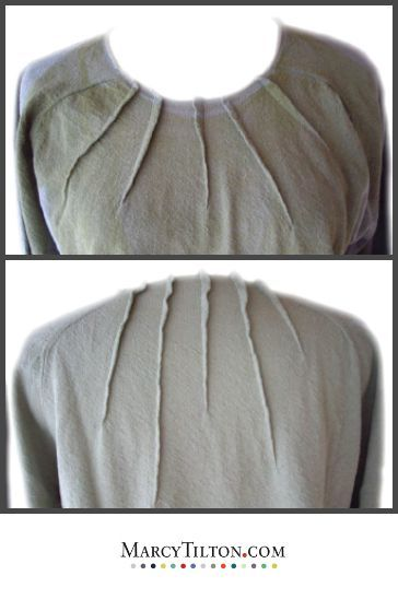 Have you thought of using darts when refashioning a T-shirt? I decided the neck on this purchased T-shirt was too wide, so I stitched random length sunburst darts to make it a more flattering shape. I wanted a random look, but worked out the math carefully. Note that the width of the darts is approximately the same. This little tweak actually upscaled the look and fit to that of an expensive French T-shirt. http://www.marcytilton.com/