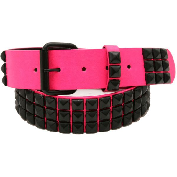 Belts / Buckles | Accessories ($38) found on Polyvore featuring accessories, belts, jewelry, pink, other, buckle belt, pyramid stud belt and pink belt