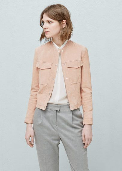 Замшевая куртка с карманами | MANGO МАНГО