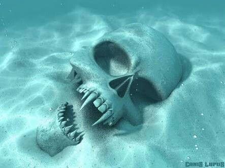 Vampire skull in water
