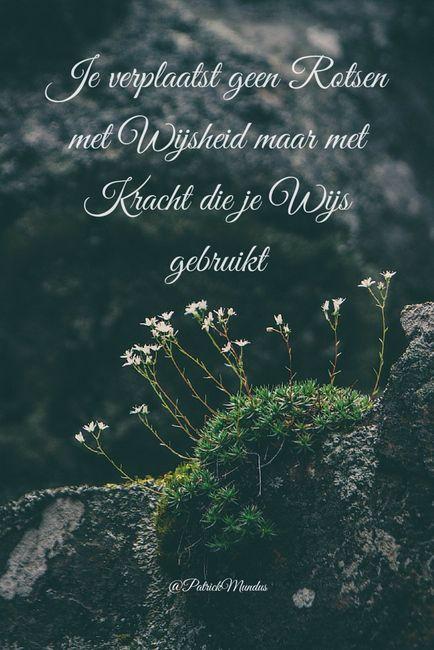 Je verplaatst geen rotsen met #wijsheid maar met kracht die je wijs gebruikt...