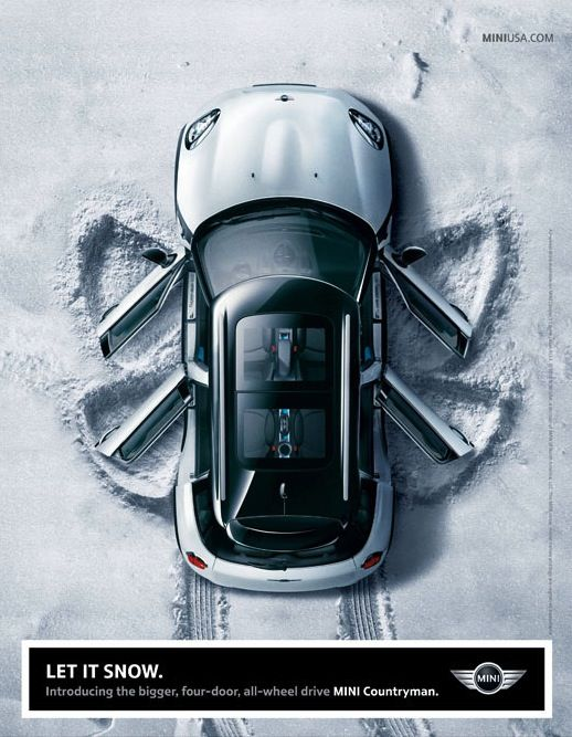 let it snow. mini countryman ad.                                                                                                                                                                                 More