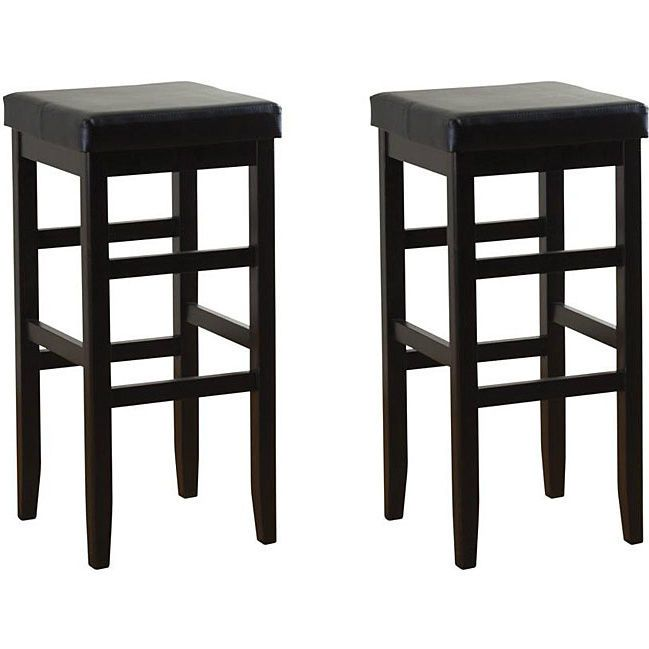 bar stool cushions square counter height stools black padded kitchen set of 2