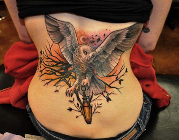 Owl tattoo on back - 55 Awesome Owl Tattoos  <3 <3