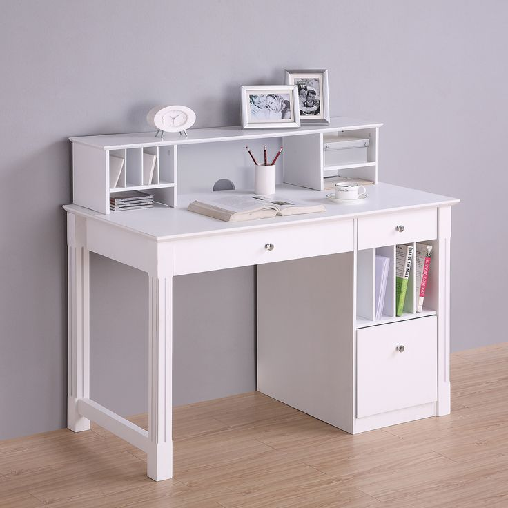 Bring a touch of elegance to any room in your home with this beautiful, deluxe wood desk. Constructed from high-grade MDF with a beautiful painted finish. Features a drop-down keyboard tray, hanging f