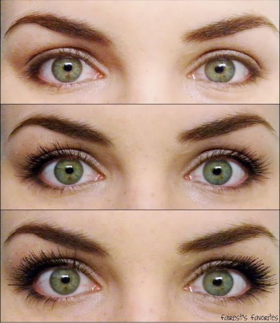 Fairest's Favorites : CoverGirl Clump Crusher Mascara; Top Photo: No Makeup. Middle Photo: One Coat. Bottom Photo: Three Coats