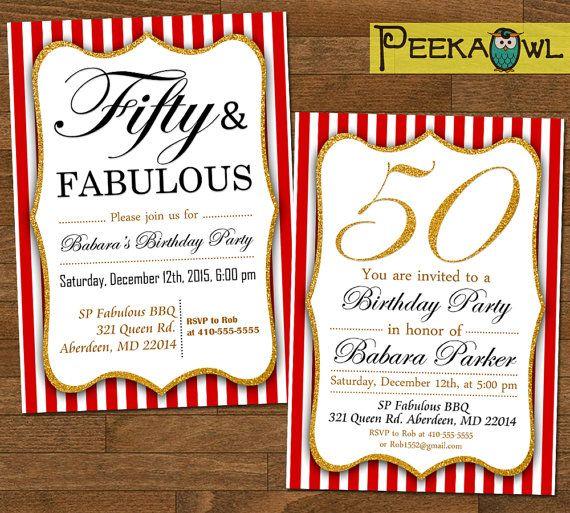 Printable 50th Birthday Invitations  Red 50th Birthday by PeekaOwl