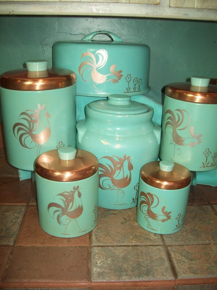 Vintage turquoise aqua ransburg rooster 6pc set canisters for Kitchen set cake