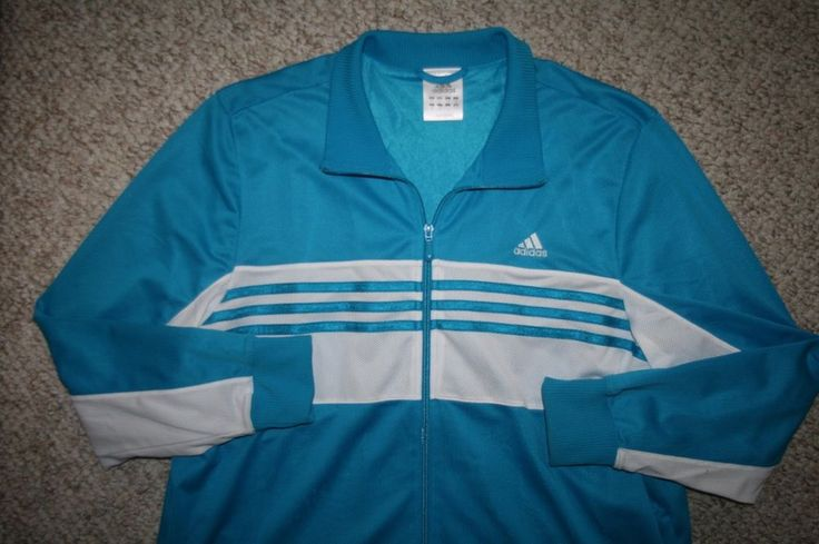 Adidas XL jacket blue & white polyester womens women athletic coat extra large #adidas #CoatsJackets