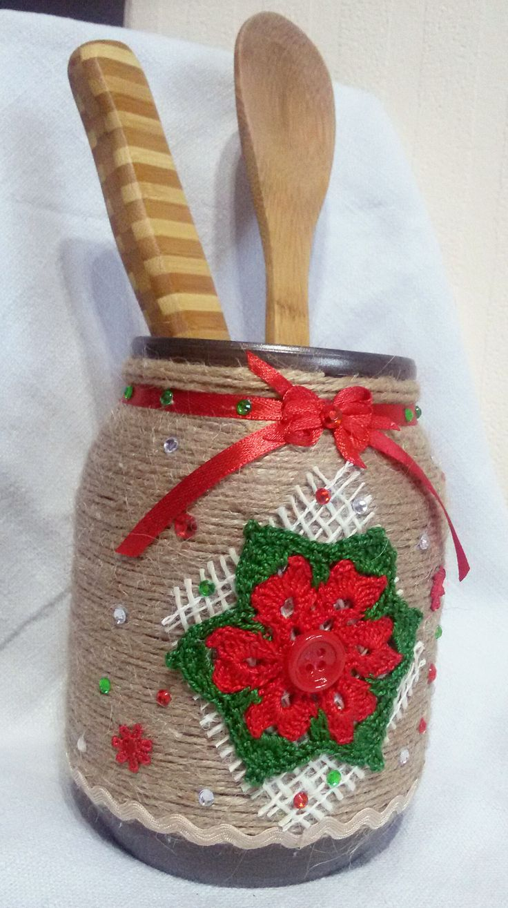 Mason jar covered with rope for Christmas by Rocreanique