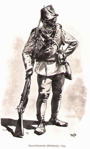 """Sketch of a soldier from a """"Hungarian"""" Line regiment as he would have appeared in the field in 1859. The black leather belts are unusual, as this was typical only of Jager battalions."""