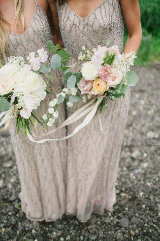 Stunning bridesmaids gowns / http://www.deerpearlflowers.com/2015-wedding-trends-sequined-metallic-bridesmaid-dresses/2/