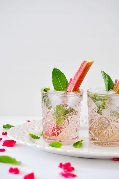 Elderflower Rhubarb Mojitos
