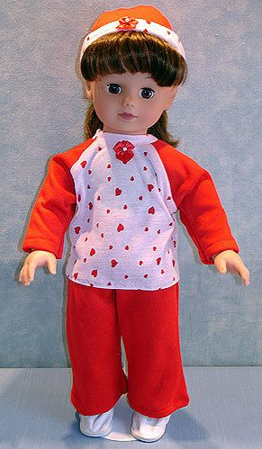 18 Inch Doll Clothes - Red and Pink Hearts Pant Set handmade by Jane Ellen to fit 18 inch dolls by JaneEllen2 on Etsy