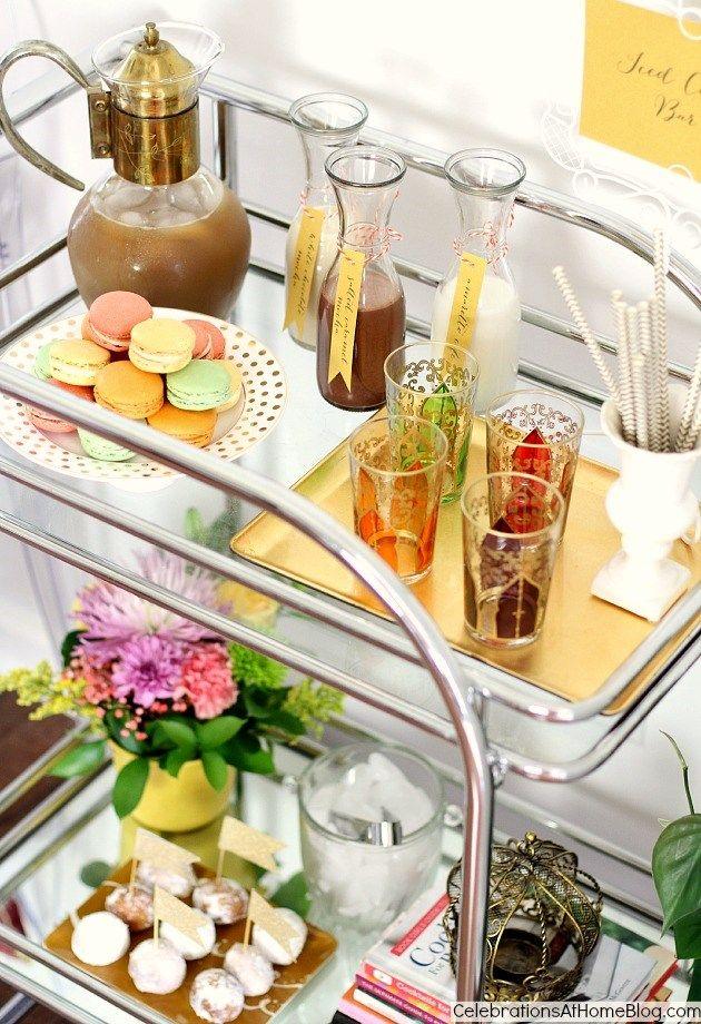Iced Coffee bar set up on bar cart