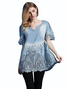Casual/hétköznapi Nagy méretek / Utcai sikk V-alakú-Női Blúz,Hímzett Tavaszi Ujjatlan Kék Pamut Közepes vastagságú