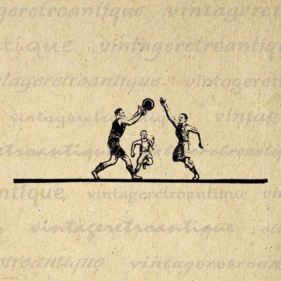 Digital Printable Vintage Basketball Players Download Basketball Image Graphic Antique Clip Art Jpg Png Eps 18x18 HQ 300dpi No.4300 @ vintageretroantique.etsy.com