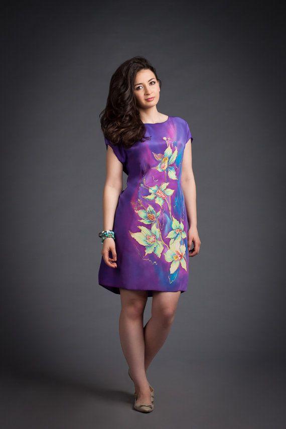 Hand painted silk dress. Summer silk dress. by batikelenakotova, $142.00
