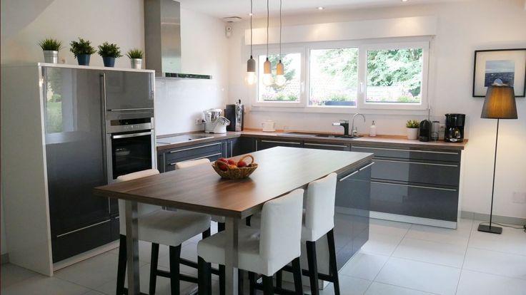 Décoration Cuisine 18m2 ambiance contemporaine - Le Barp (Gironde - modele de cuisine americaine