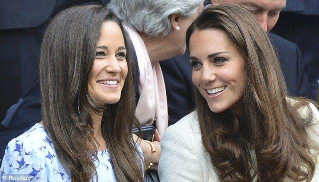 Upbeat: Kate shares a word with Pippa in the Royal Box as Andy Murray makes a blistering start in his match with Roger Federer: Sisters Pippa, Duchess Of Cambridge, The Duchess, Prince Williams, Kate Middleton, Bouncy Curls, Pippa Middleton, Duchess Kate, Royals Boxes