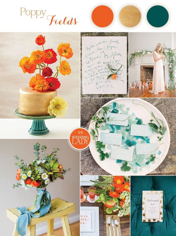 Artistic Autumn Poppy Wedding Inspiration in Matte Gold, Teal, and Orange with Mid Century Modern Styling and Calligraphy Details
