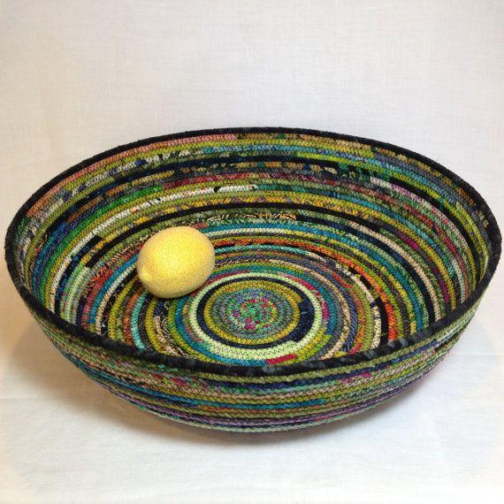 Love these colours: Rag Rug Fabric Basket Extra Large by NanaZebra on Etsy