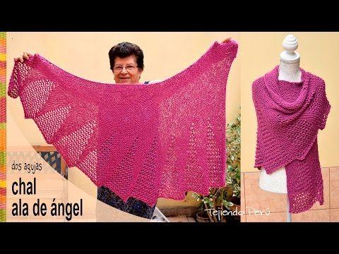 Chal ala de ángel tejido en dos agujas - Tejiendo Perú - YouTube