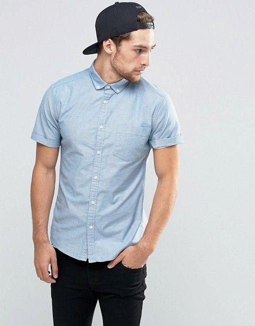 ASOS | ASOS - Camicia Oxford skinny blu a maniche corte