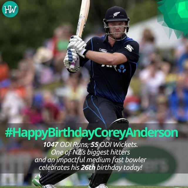 #HappyBirthdayCoreyAnderson Corey Anderson scored one of the fastest centuries in ODIs off just 36 balls. #coreyanderson #newzealand #cricket