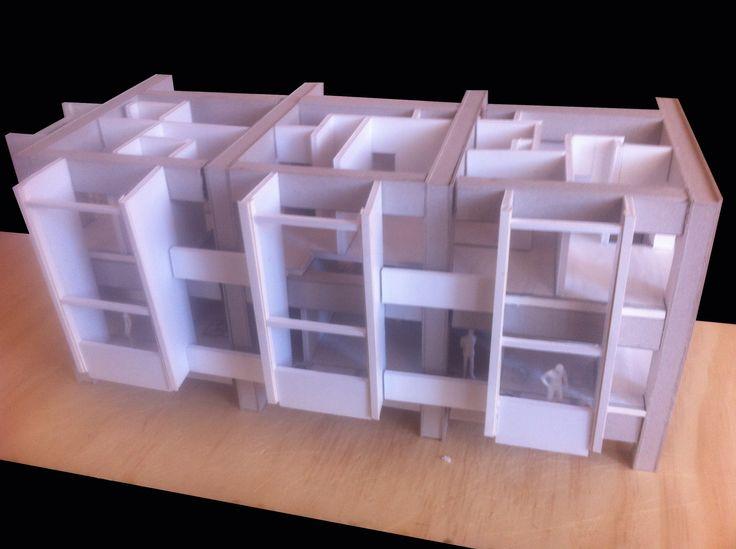 Detalle modelo de intervención Residencial Estudiantil + Vivienda Duplex. Modelo Esc 1/100.