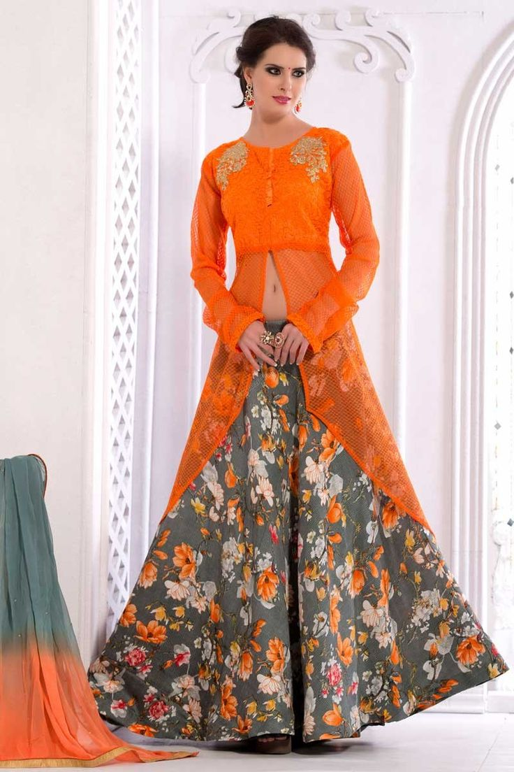 #AndaazFashion Présente net orange Lehenga Choli et Dupatta   http://www.andaazfashion.fr/womens/lehenga-choli/orange-net-lehenga-choli-and-dupatta-dmv13769.html