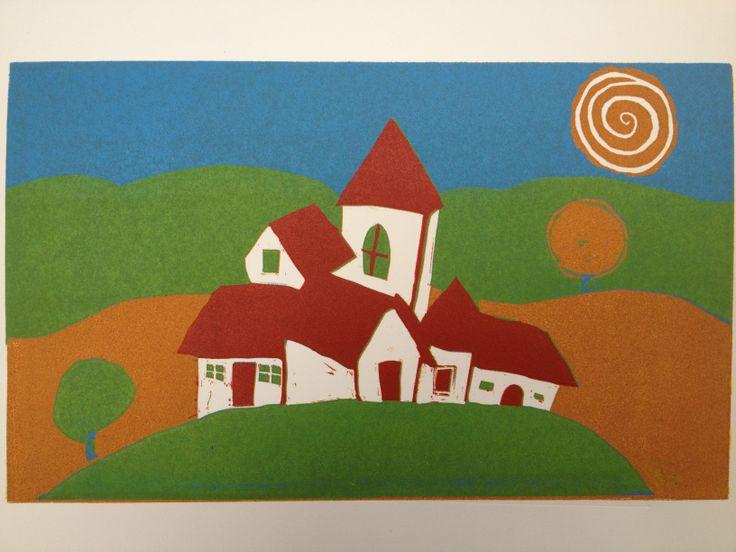 """""""Mi Casa es Su Casa"""" Linocut Print by Simone Doe"""