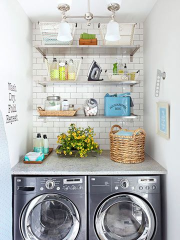 Small Laundry Room with style ~ love the brick wall design! #LaundryByDesign #TheGoodHomeCo #Linedried