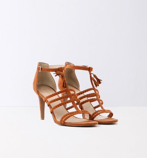 Sandales tressées à talons cognac - Promod