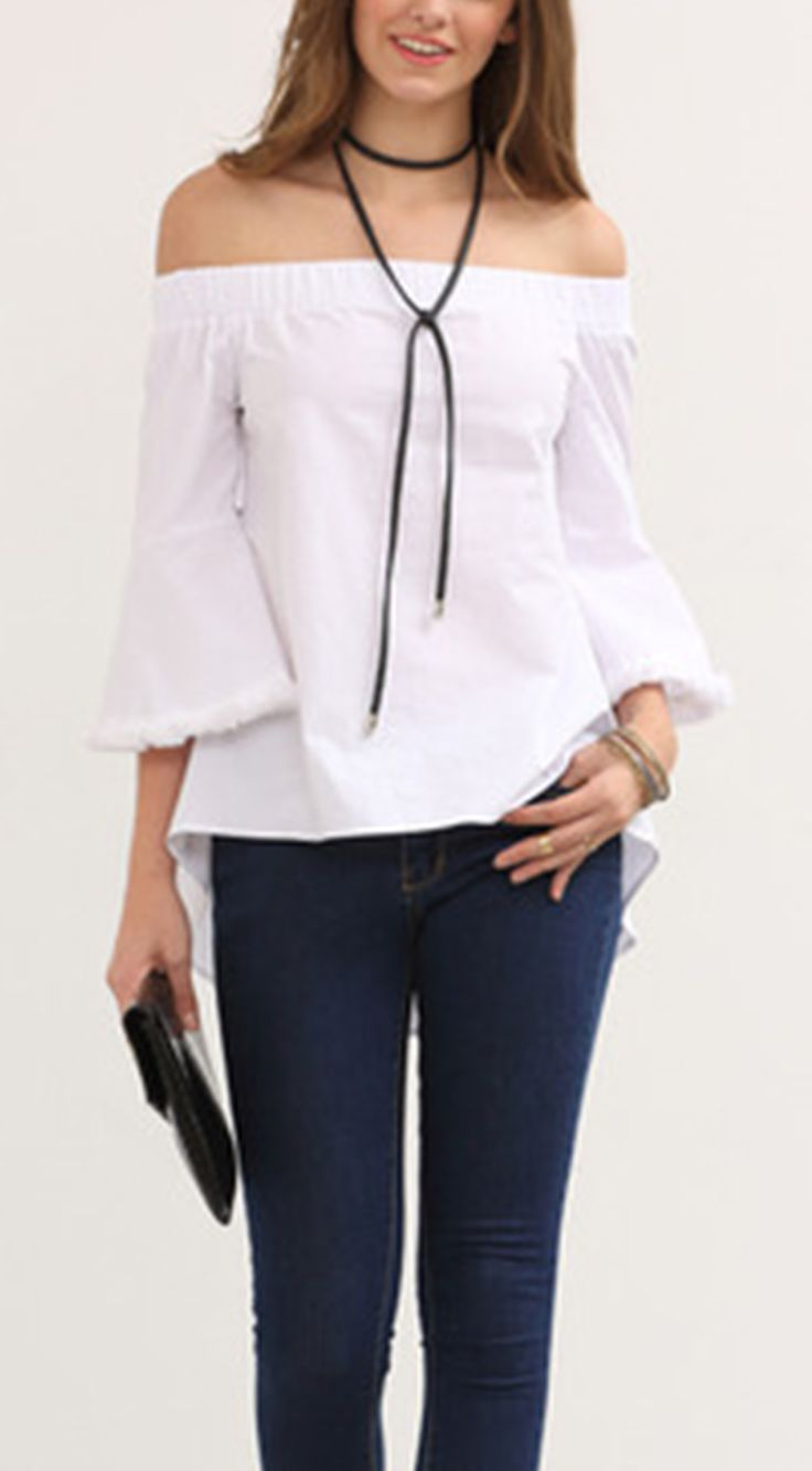 Make some change to your old blouse. The fashion blouse can be more unique. If you like this one. Check White Off The Shoulder Bell Sleeve Blouse at shein.