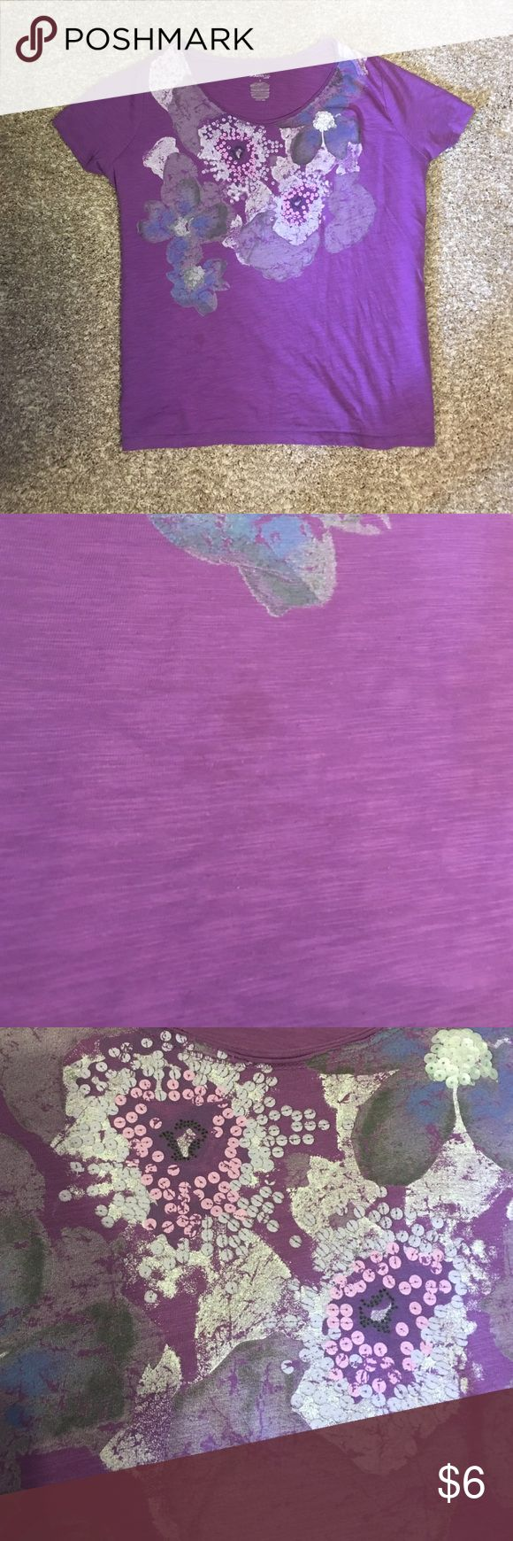 St. John's Bay Women's Purple Shirt Has been worn. Small stain on front of shirt as shown on picture. Comes from a smoke home! St. John's Bay Tops Tees - Short Sleeve