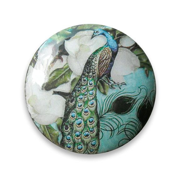 Peacock Cabinet Knobs Pull Blue Cottage Chic Antoinette Style Wood Hardware For A Kitchen Or