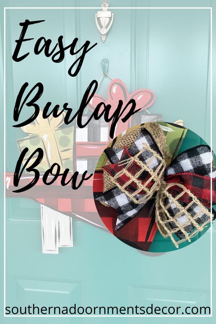 How To Make A Burlap Bow For Door Hangers Southern Adoornments Decor Burlap Bows Hanger Decor Door Hangers