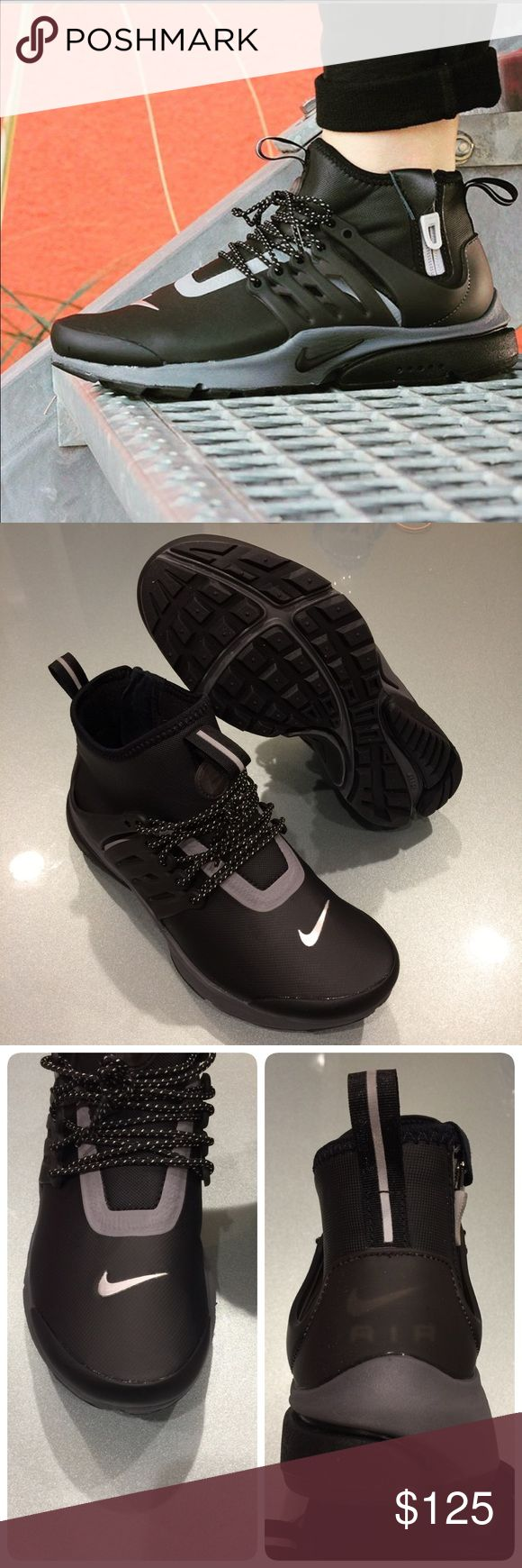 🍀New🍀 NIKE Air Presto Mid Utility ~ size 7 brand new no lid  size 7 black/reflect silver  comes from smoke free home  100% authentic M1700071 Nike Shoes Athletic Shoes